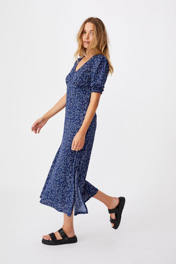 Emilia Short Sleeve Split Midi Dress, MAYA DITSY MEDIEVAL BLUE