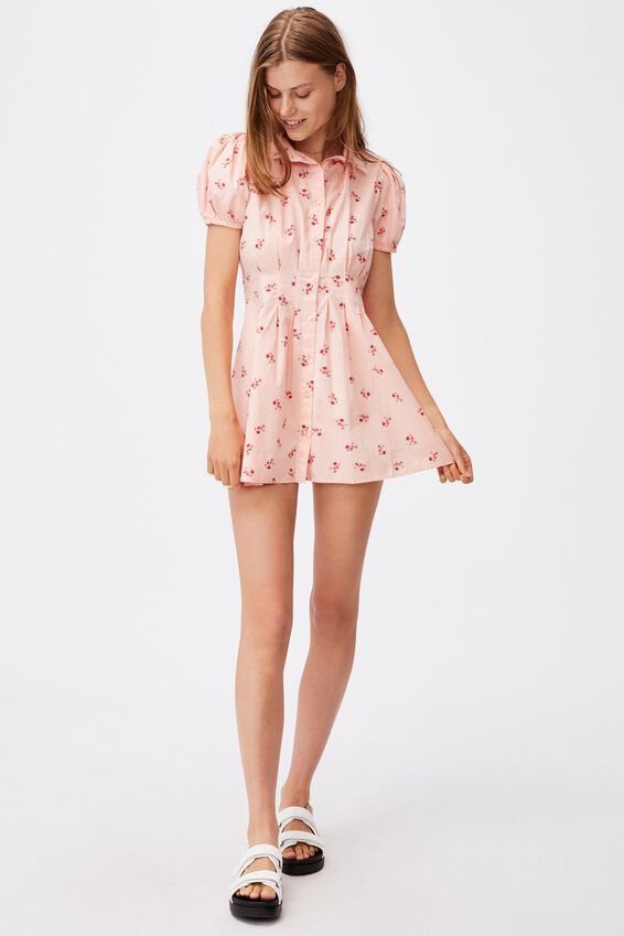 Woven Bambie Button Front Shirt Dress, ARABELLA FLORAL PEACHED PINK MINI