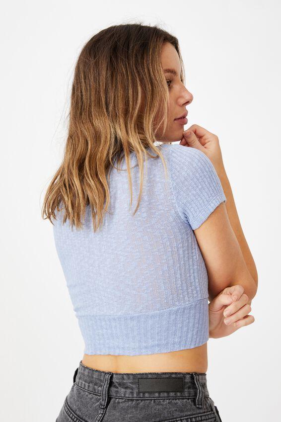 Tonya V Cross Over Short Sleeve Top, VINTAGE BLUE