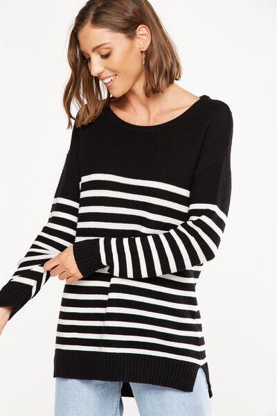Archy 4 Pullover, BLACK & WHITE STRIPE
