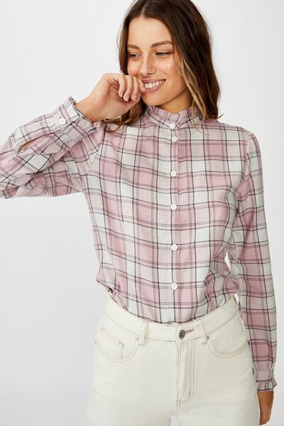 Femme Frill Shirt, DARCY CHECK ZEPHYR