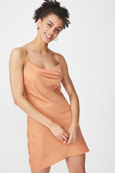 Woven Vera Cowl Neck Mini Dress, SAHARA