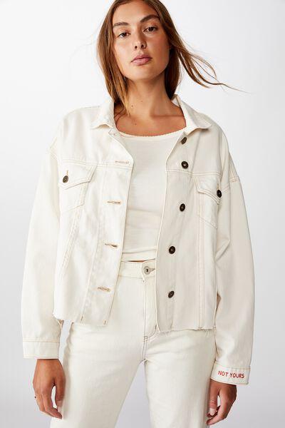 Personalised Os Denim Jacket, WHITE ALYSSIUM
