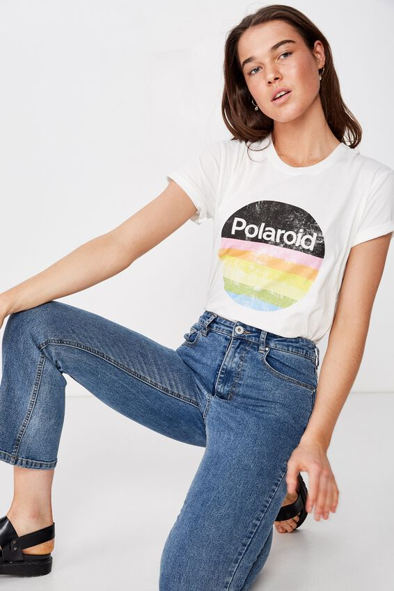 Classic Pop Culture T Shirt, LCN POLAROID RAINBOW/GARDENIA