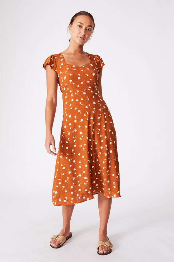 Woven Cleo Tie Back Midi Dress, ADELE DAISY SYRUP BROWN