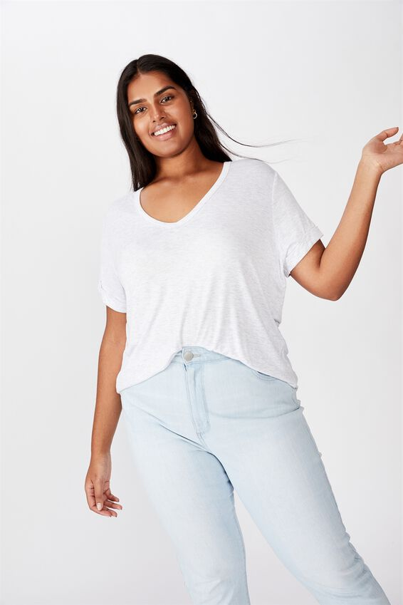 Curve Karly Short Sleeve Tee, SILVER MARLE
