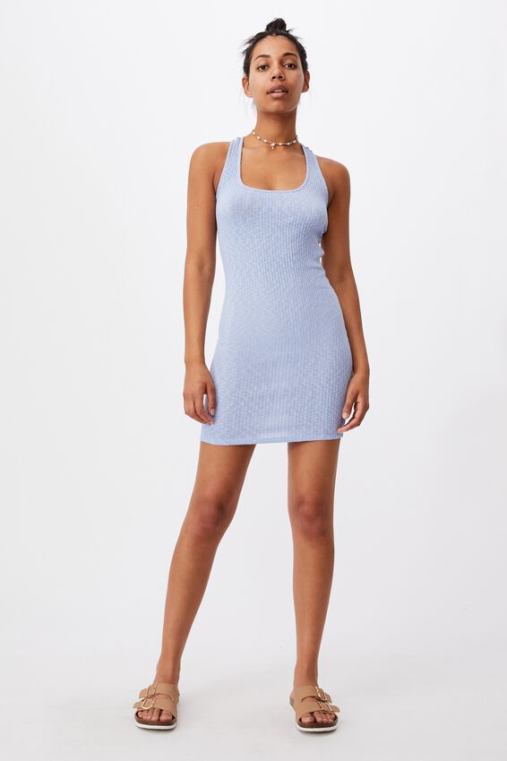 Tyra Cross Back Mini Dress, POWDER BLUE