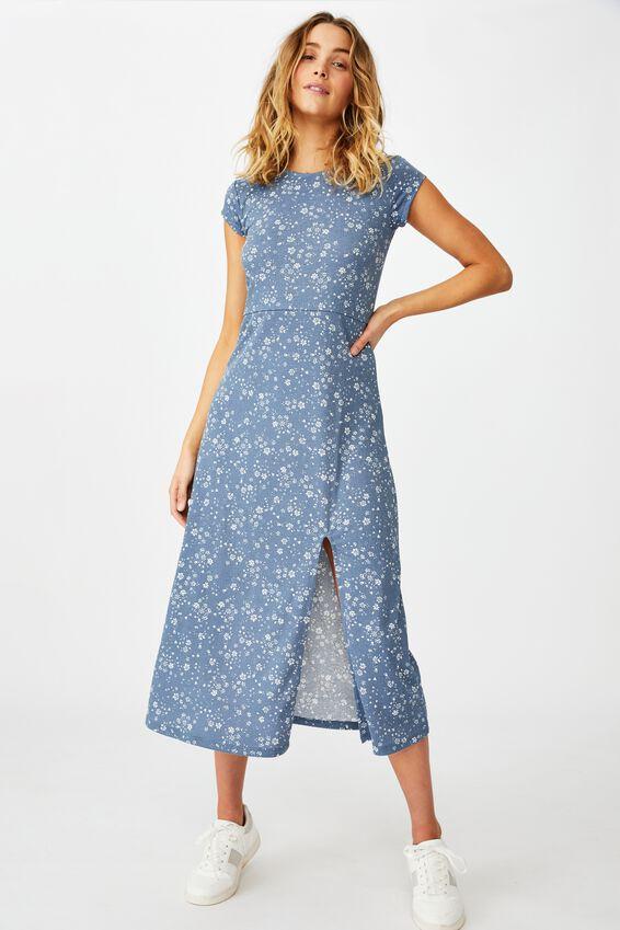 Elsa Short Sleeve Split Front Midi Dress, MARIE DITSY FLINTSTONE