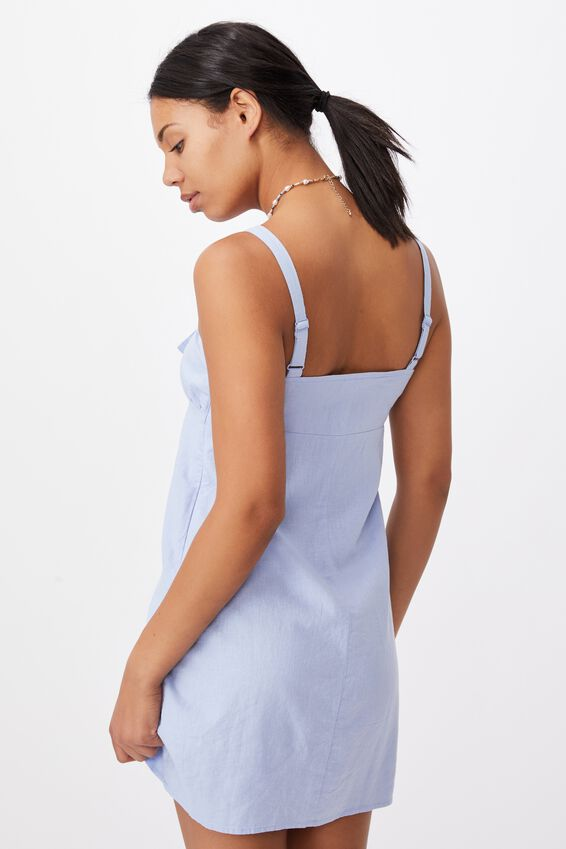 Woven Layla Tie Front Mini Dress, POWDER BLUE