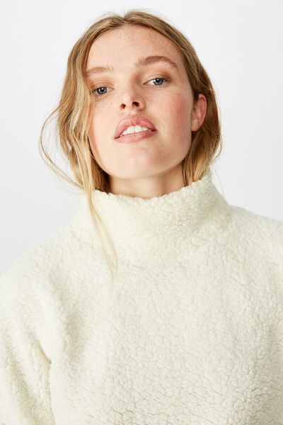 Funnel Neck Teddy Pullover, MARSHMALLOW