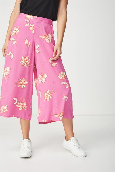 Mid Rise Drapey Culotte Pant, LILLY FLORAL SUPER PINK