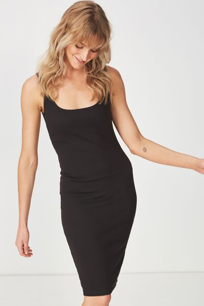 Kimi Scooped Bodycon Midi Dress, BLACK