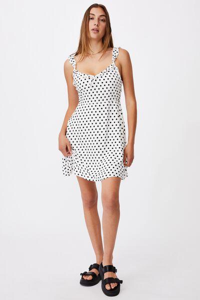 Woven Quinn Ruffle Strap Mini Dress, SALLY SPOT WHITE