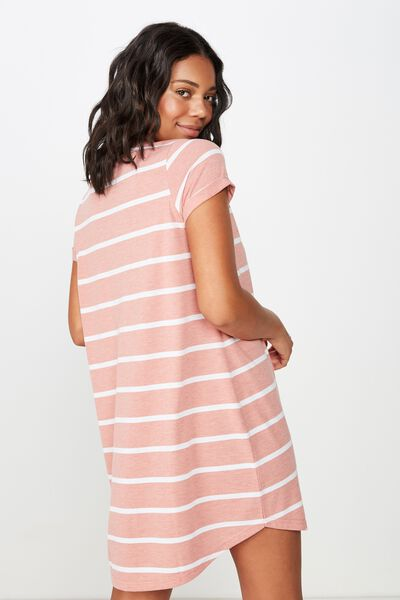 Tina Tshirt Dress 2, MINDY STRIPE ROSE TAN MARLE