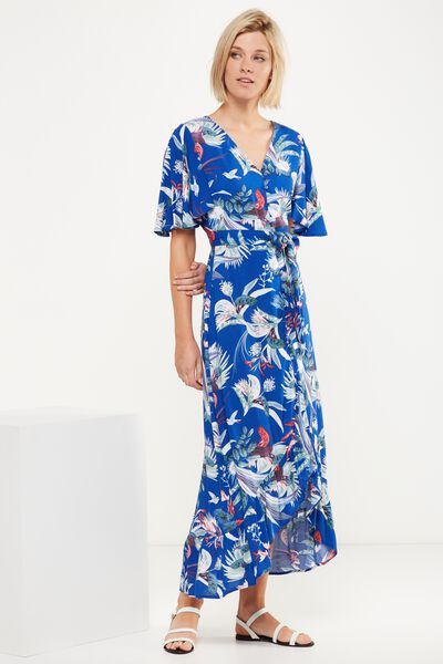Woven Dallas Cape Sleeve Maxi Dress, IVANKA FLORAL CLASSIC BLUE