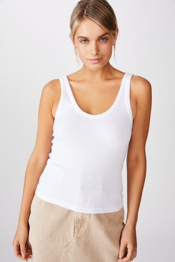Turnback Scoop Tank, WHITE