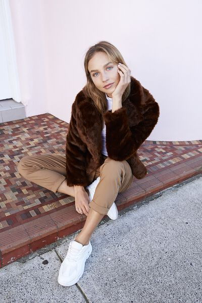 Hunter Faux Fur Coat, DEEP BROWN