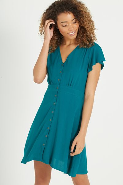 Woven Bianca Short Sleeve Tea Dress, ENVY GREEN
