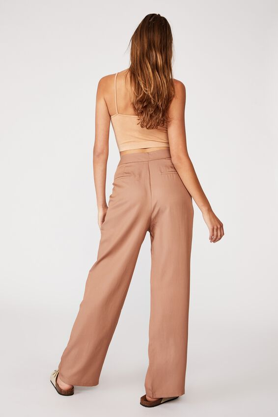Drapey Wide Leg Pant, HERITAGE BROWN