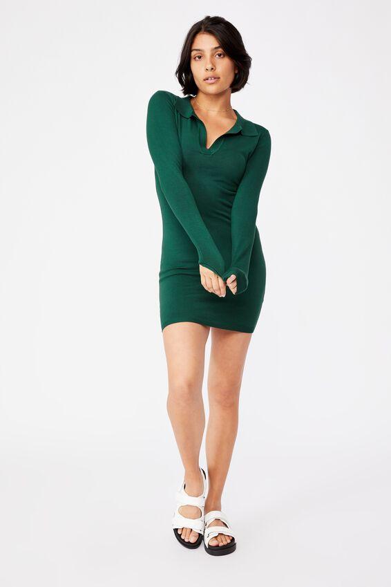Nicola Knit Polo Mini Dress, VINTAGE GREEN