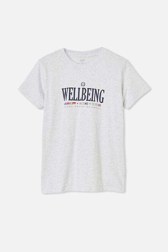 Classic Slogan T Shirt Silver Marle, WELLBEING/SILVER MARLE