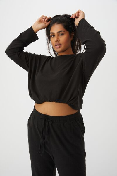 Curve Super Soft Draw Cord Crew, WASHED BLACK MARLE