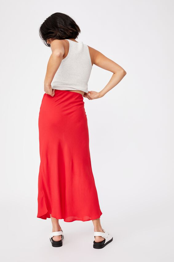 All Day Slip Skirt, LUCKY RED