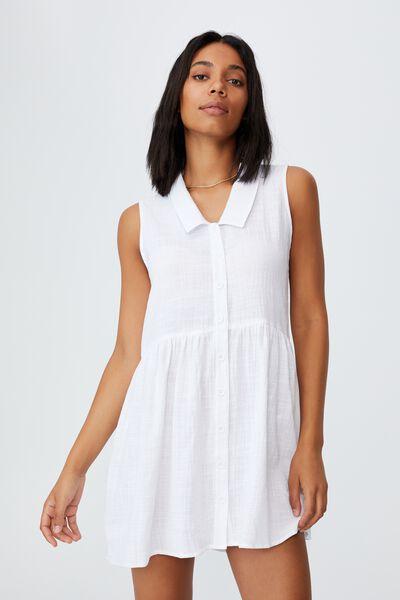 Woven Zoe Sleeveless Smock Mini Dress, TEXTURED WHITE