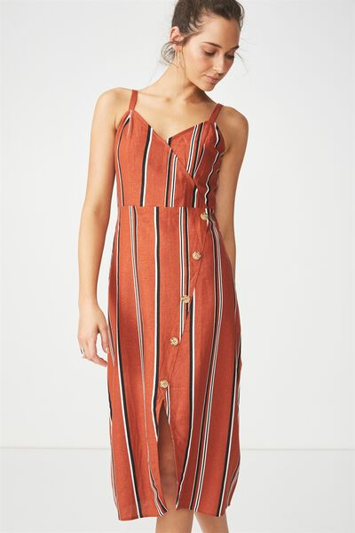Woven Kensey Button Up Midi Dress, TERRACOTTA/BLACK/WHITE LISA STRIPE