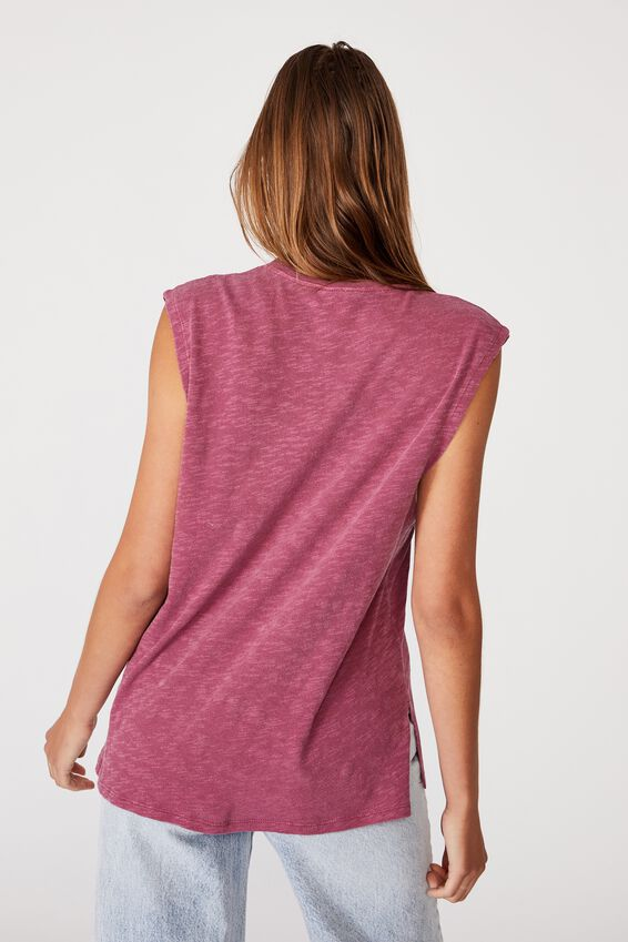 Miki Side Split Tank, WASHED DARK GRAPE