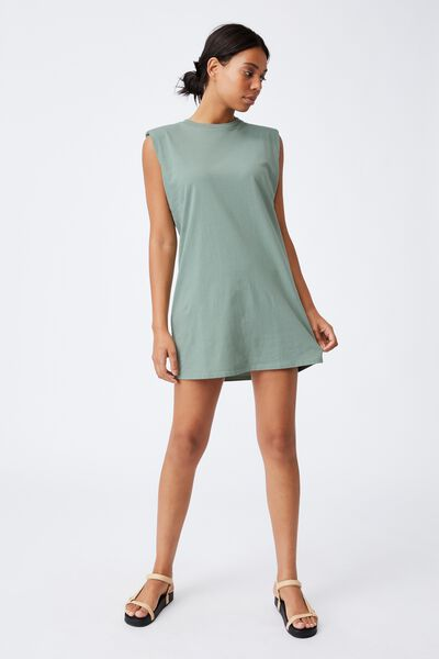 Lew Muscle Tank Mini Dress, LUSH GREEN