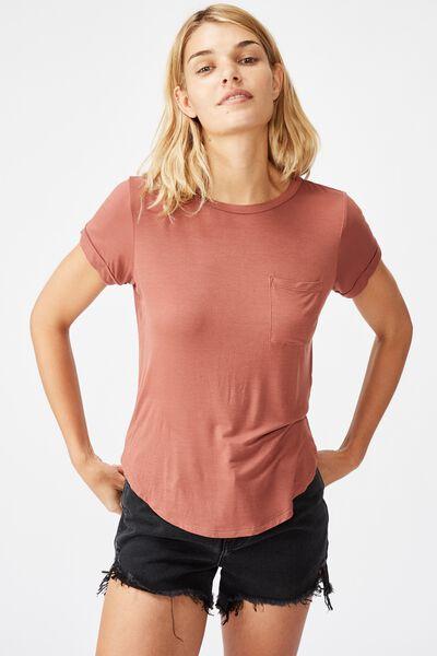 Kathleen Short Sleeve Top, MAHOGANY
