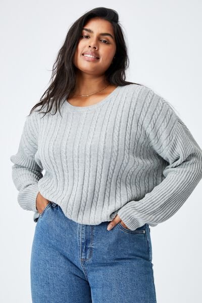 Curve Riley Cotton Knit Jumper, SILVER MARLE