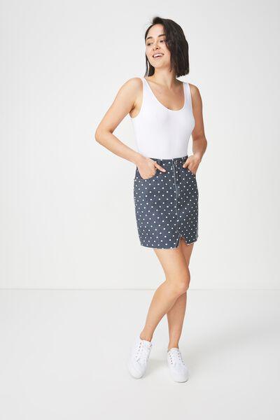 The Re-Made Mini Denim Skirt, POLKA DOT NAVY
