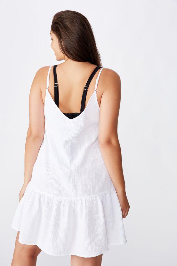 Curve Drop Hem Beach Dress, WHITE