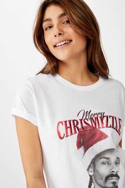 Classic Christmas T Shirt, LCN MT SNOOP CHRISMIZZLE/WHITE