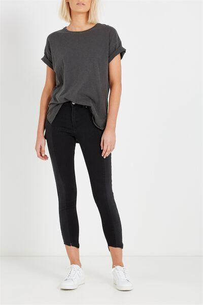 Mid Rise Grazer Skinny Jean, PANEL BLACK