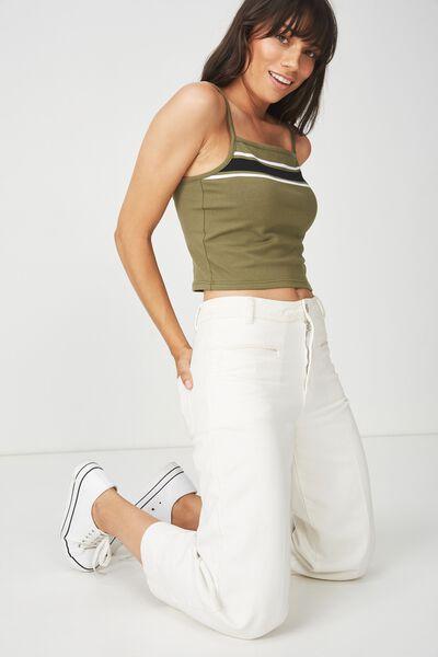 Fashion Crop Cami, MEL BLOCK PLACEMENT STRIPE SOFT KHAKI/BLACK/WHITE