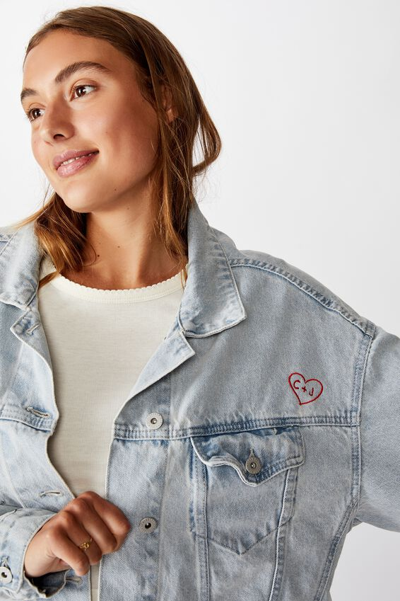 Personalised Os Denim Jacket Love Heart, FADED BLUE