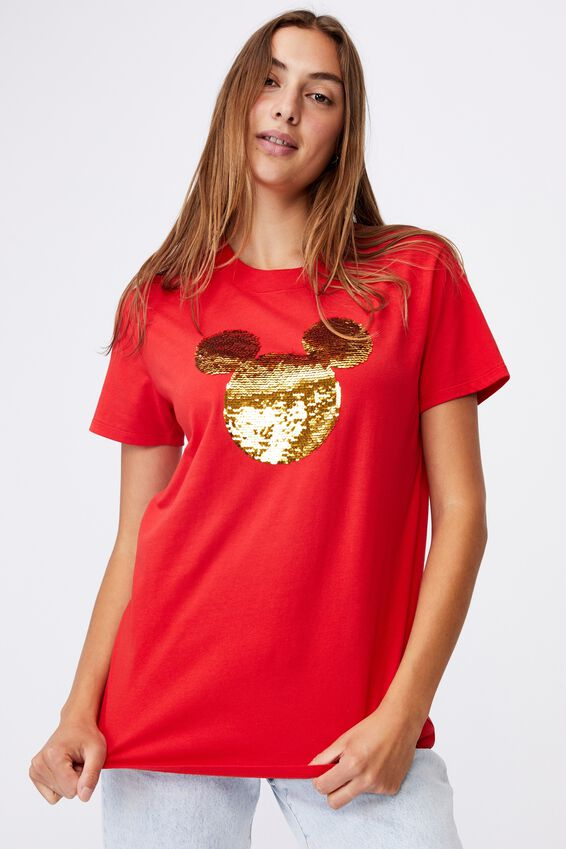 Classic Cny Graphic License T Shirt, LCN DIS MICKEY SEQUIN HEAD/LUCKY RED
