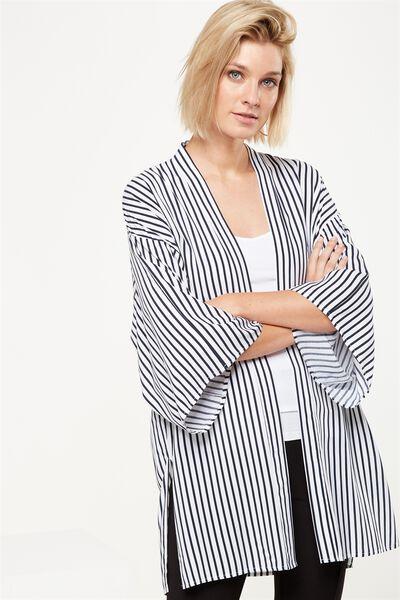 Holly Kimono, MILY VERTICAL STRIPE BRIGHT WHITE