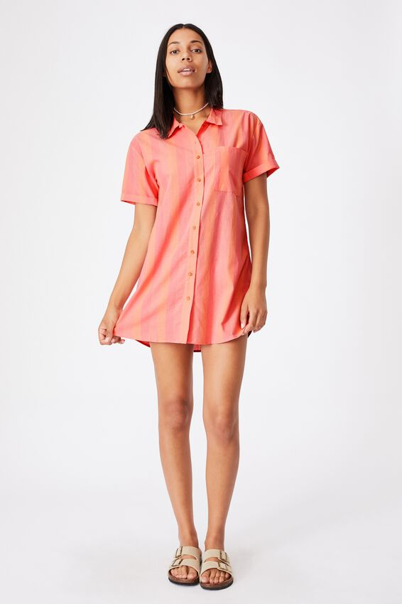 Woven Lola Button Shirt Dress, CAITLYN STRIPE STRAWBERRY SORBET