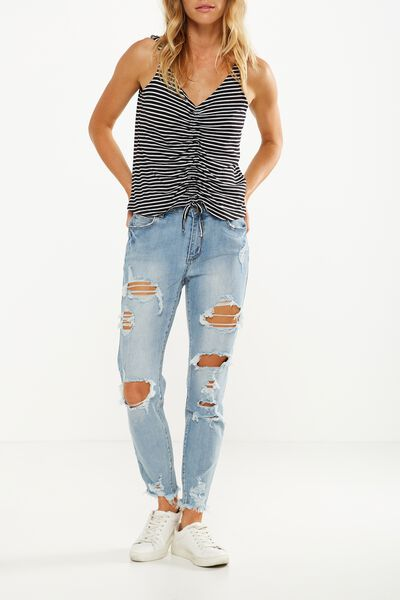 Mid Rise Grazer Skinny Jean, EXTREME RIPS BLUE