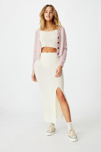 Match Me Knit Midi Skirt, SEASHELL WHITE