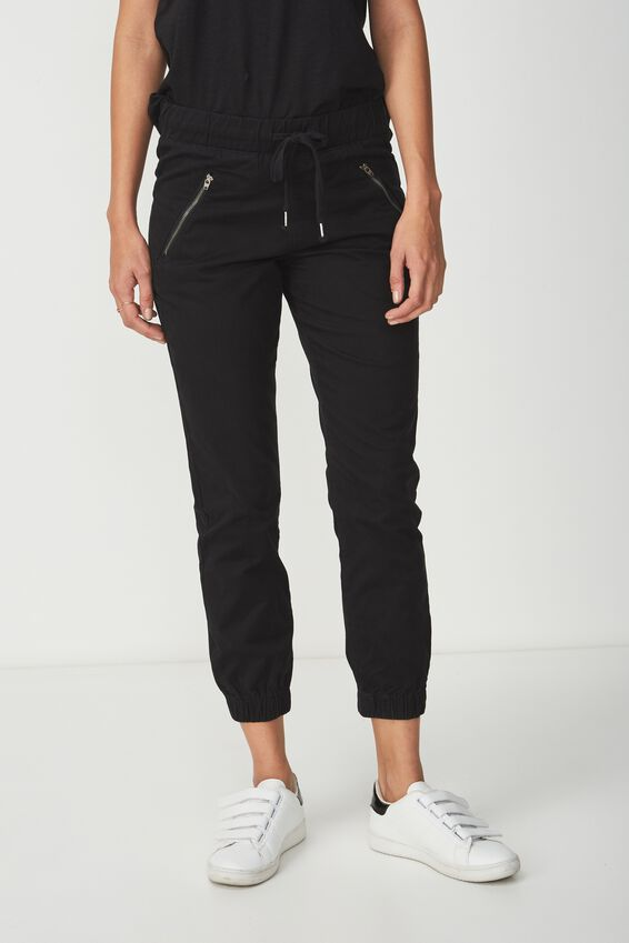 The Cuffed Chino, SOLID BLACK ZIPS