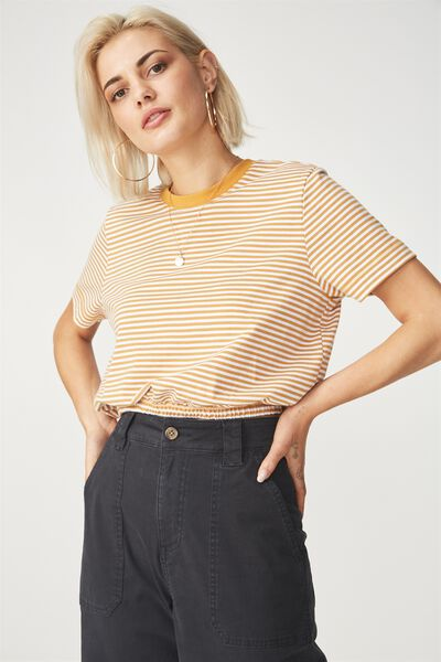 Ivy Short Sleeve Waisted Top, JESSIE STRIPE WHITE/SPRUCE YELLOW