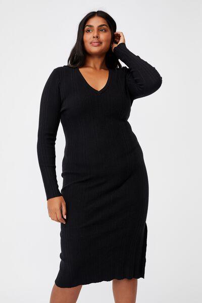 Curve Emily Long Sleeve Midi Split Dress, BLACK