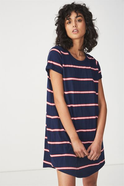 Tina Tshirt Dress 2, REMI STRIPE MOONLIGHT/ROSE PETAL