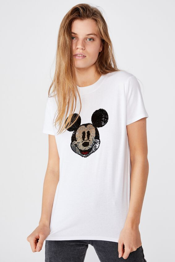 Mickey Sequin T Shirt, LCN DIS MICKEY SEQUIN WINK/WHITE