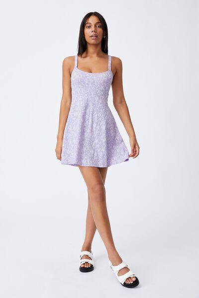 Turner Strappy Mini Dress, LENA DITSY POWDER LILAC
